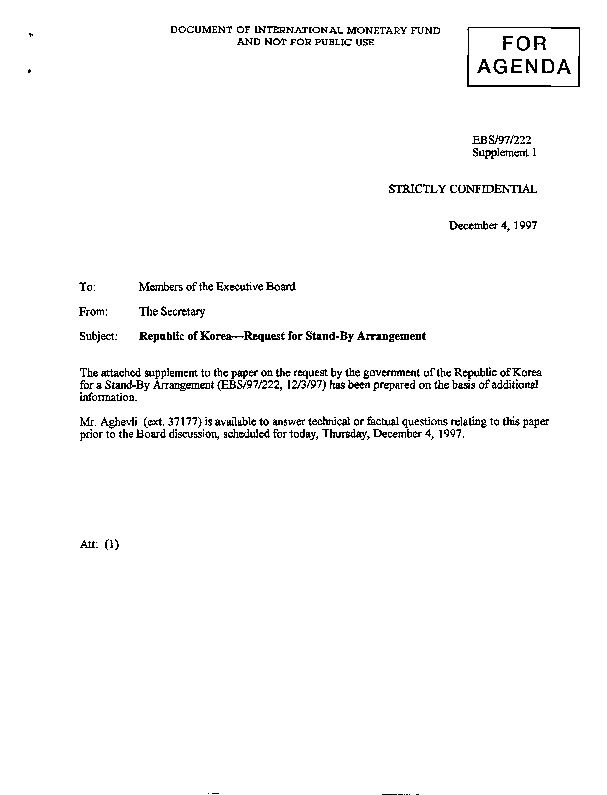 EBS 97.222 Supplement 1 Republic of Korea-Request for Stand-By Arrangement