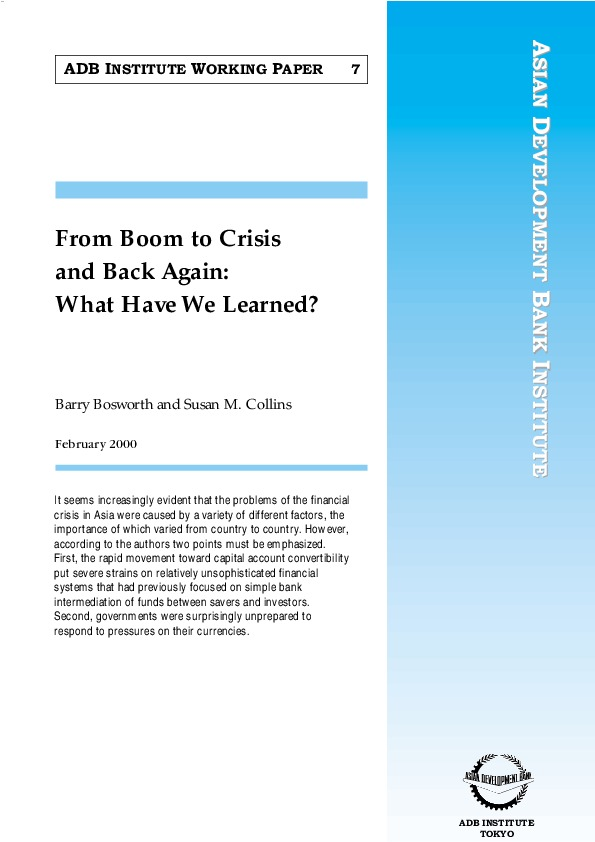 Bosworth and Collins - From Boom to Crisis and Back Again [ADB Inst Working Paper 7 2000]