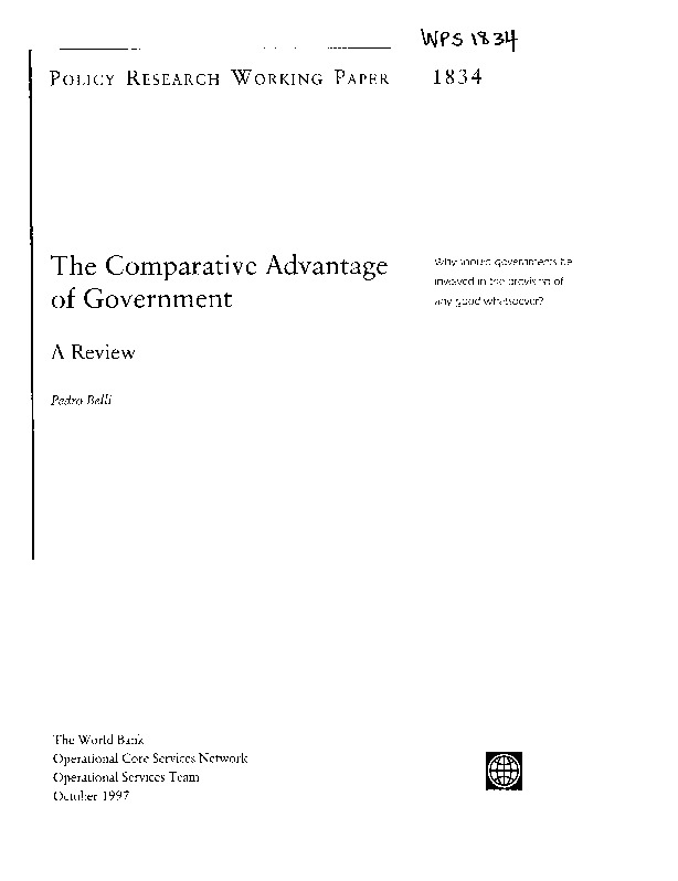 World Bank - The comparative advantage of government (1997)
