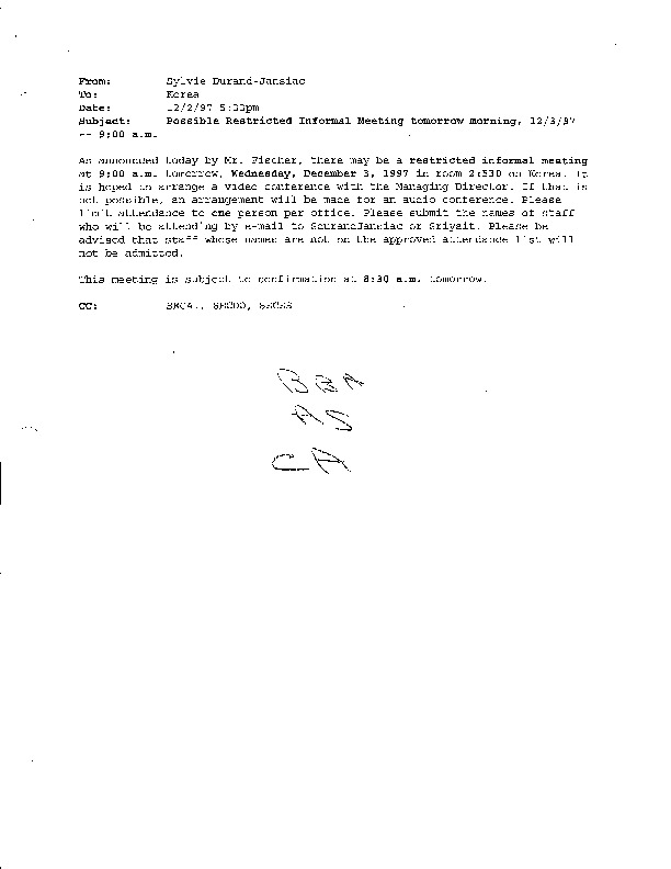 Possible Restricted Informal Meeting tomorrow morning, 12/3/97