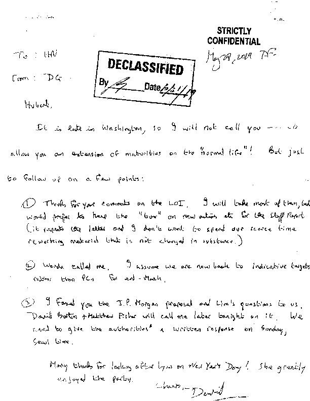 Letter to Hubert Neiss : Report on LOI