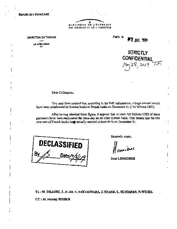 Letter of France on Korean banks' reimbursement