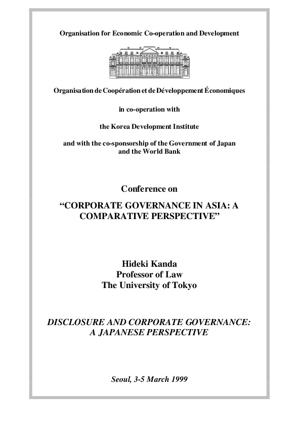 Kanda, Hideki - Disclosure and Corporate Governance A Japanese Perspective