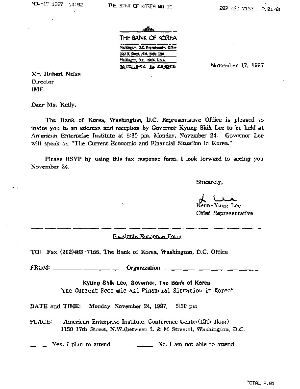 Letter from Keun-Yung Lee to Hubert Neiss