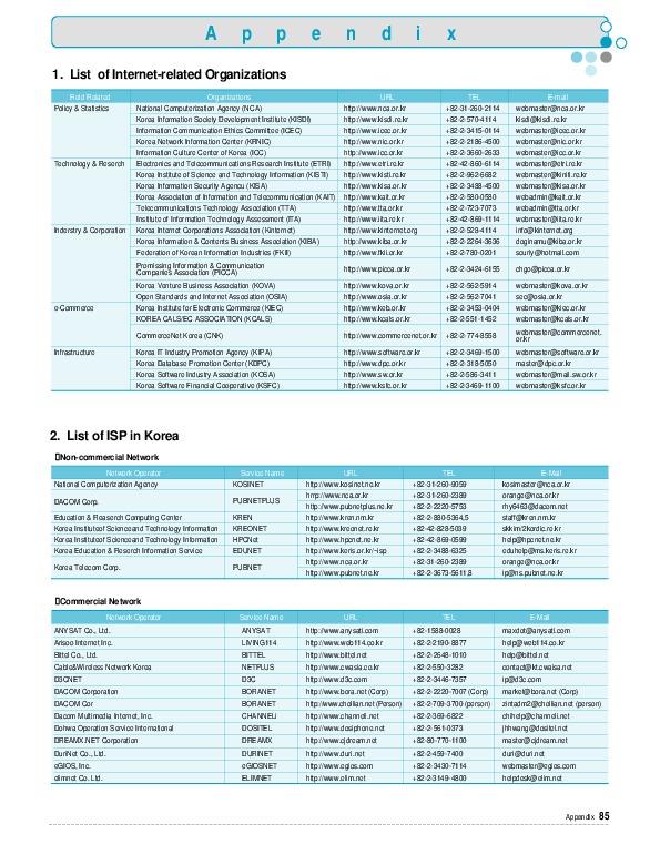 Korea Internet White Paper 2001 - Appendix