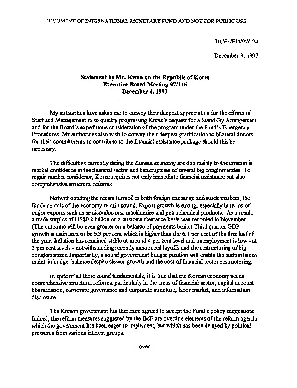 ED 97.174 Statement by Mr. Kwon on the Republic of Korea