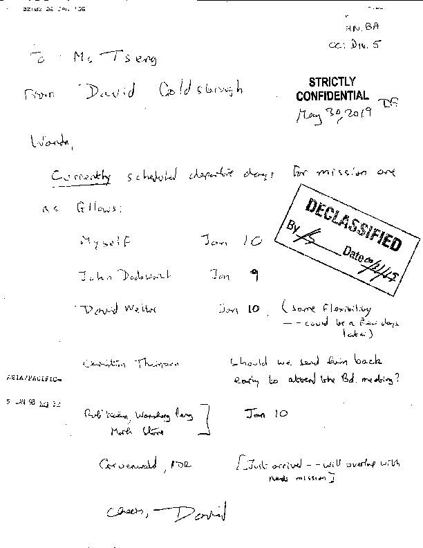Letter to Wanda Tseng on Misson Team Schedule