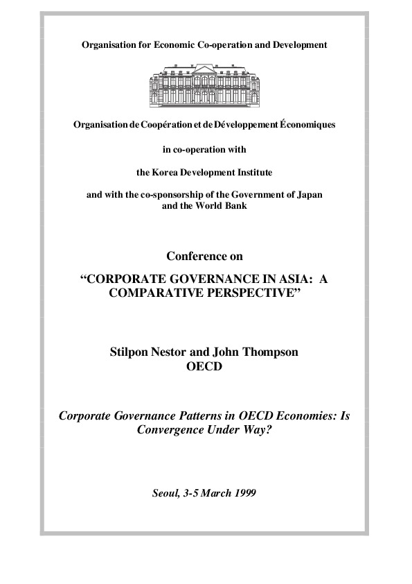 Nestor and Thompson - Corporate Governance Pattern in OECD Economies