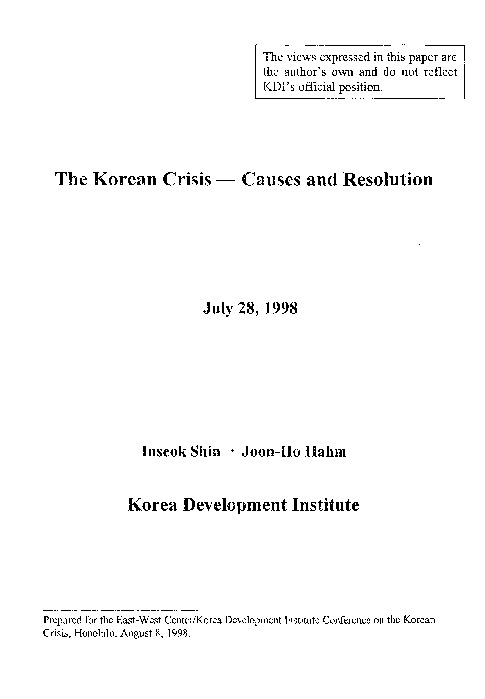 Shin and Hahm - The Korean Crisis-Causes and Resolution [KDI 2002]