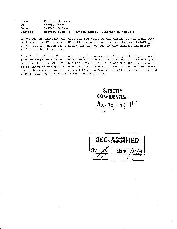 Enquiry from Mr. Mostafa Askari (Canadian ED Office)