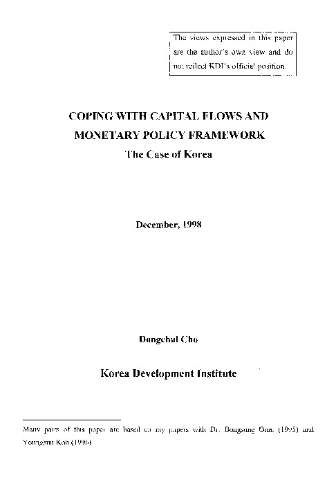 Coping with Capital Flows and Monetary Policy Framework : The Case of Korea
