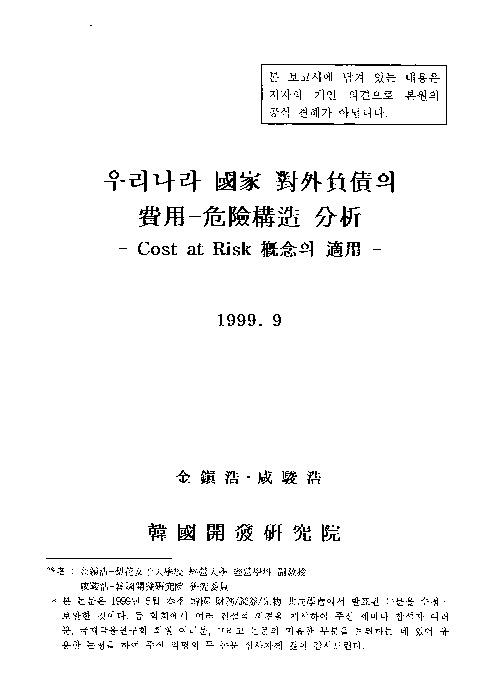 우리나라 국가 대외부채의 비용-위험구조 분석 : Cost at Risk 개념의 적용