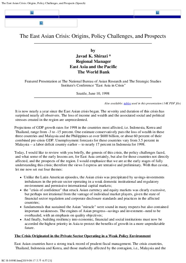 World Bank - East Asian Crisis (Jun 10, 1998)