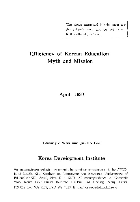 Efficiency of Korean Education : Myth and Mission