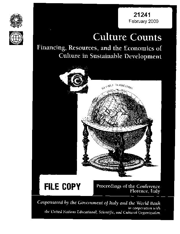 World Bank - Financing, resources, and the economics of culture in sustainable development (2000)