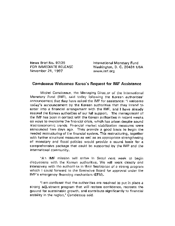 NB 97.25 Camdessus Welcomes Korea's Request for IMF Assistance