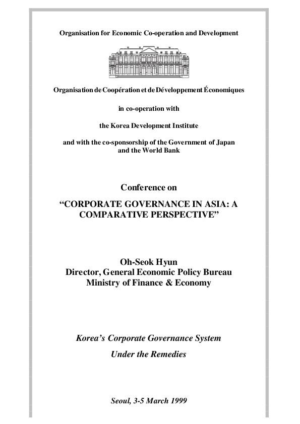 Hyun, Oh-Seok - Korea's Corporate Governance System Under the Remedies (MOFE)