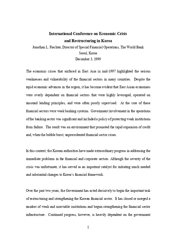 J Fiechter, World Bank - Comments Remaining Agenda on Finance