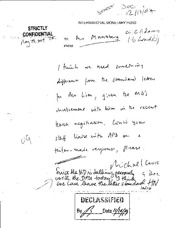 Letter from Michael Cross to Münzberg(총재 비서)