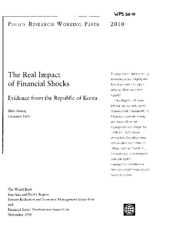 World Bank - The real impact of financial shocks - evidence from the Republic of Korea (1998)