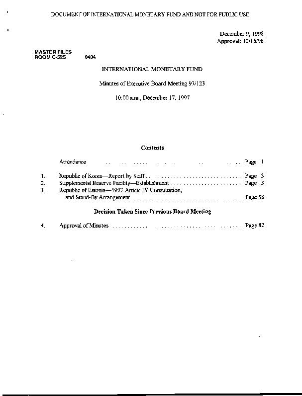 EBM 97.123 Republic of Korea-Report by Staff