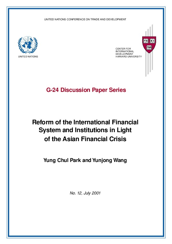 Park and Wang - Reform of the Int_l Fin Sys and Institutions in Light of the Asian Financial Crisis, UNESCO 2001
