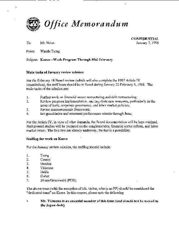 Korea-Work Program Through Mid February