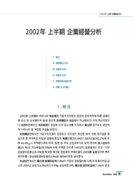 한국은행 - 2002년 상반기 기업경영분석 [조사통계월보 2002.11월호]
