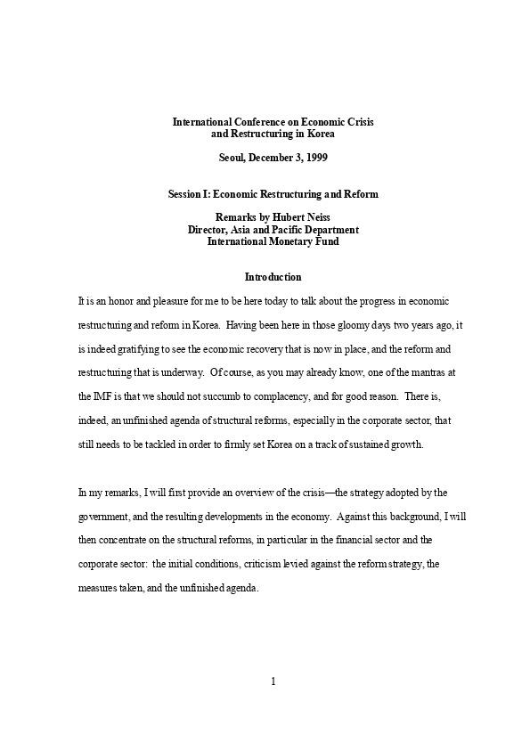 나이스 (IMF 아태담당국장) - Economic Restructuring and Reform