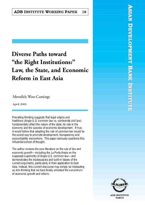 Woo-Cumings, Meredith - Law, the State, and Economic Reform in East Asia [ADB Inst WP18, 2001]
