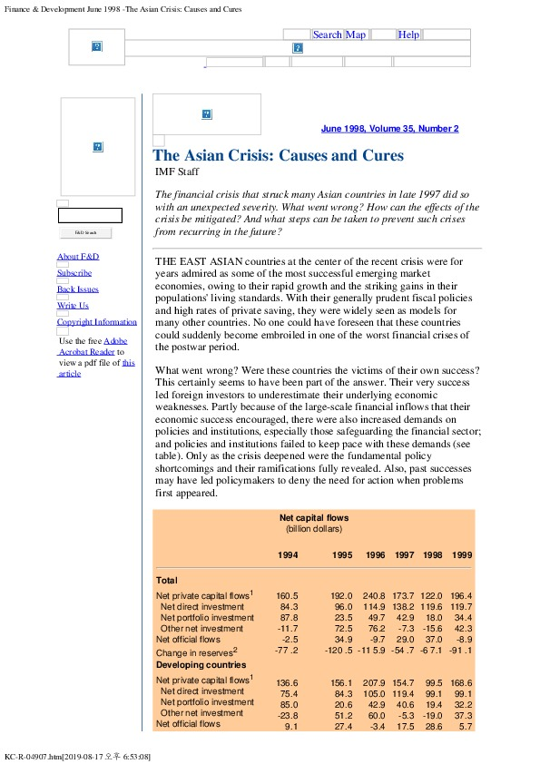 IMF Staff - The Asian Crisis, Causes and Cures