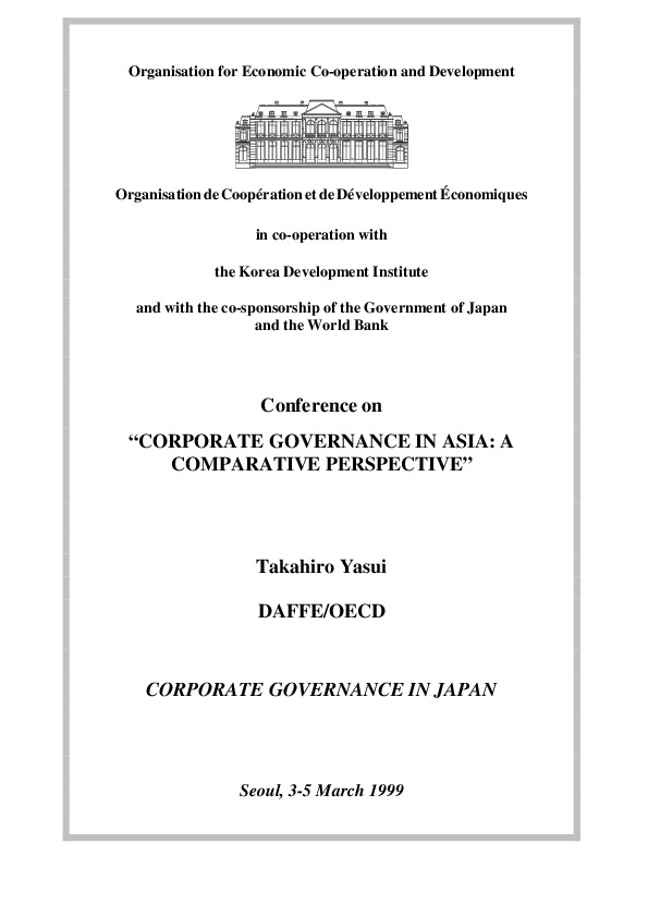 Yasui, Takahiro - Corporate Governance in Japan