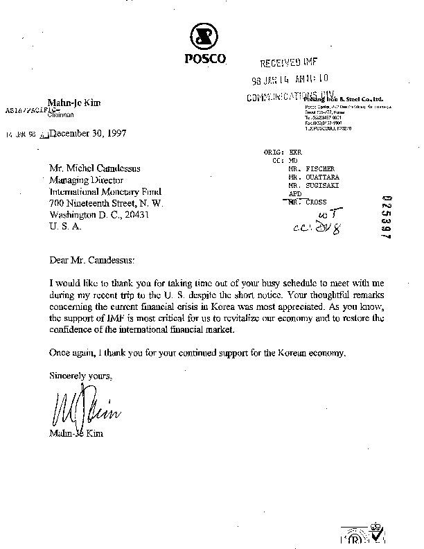 Letter from POSCO Kim Mahn-Je