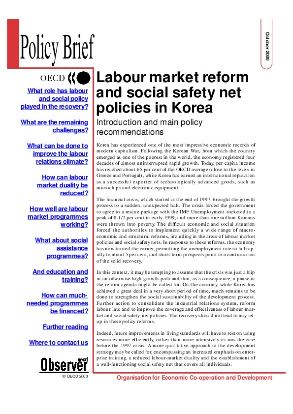 OECD Policy Brief - Labour Market Reform in Korea