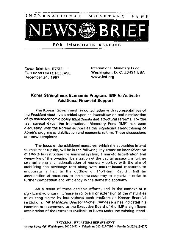 NB 97.32 Korea Strengthens Economic Program