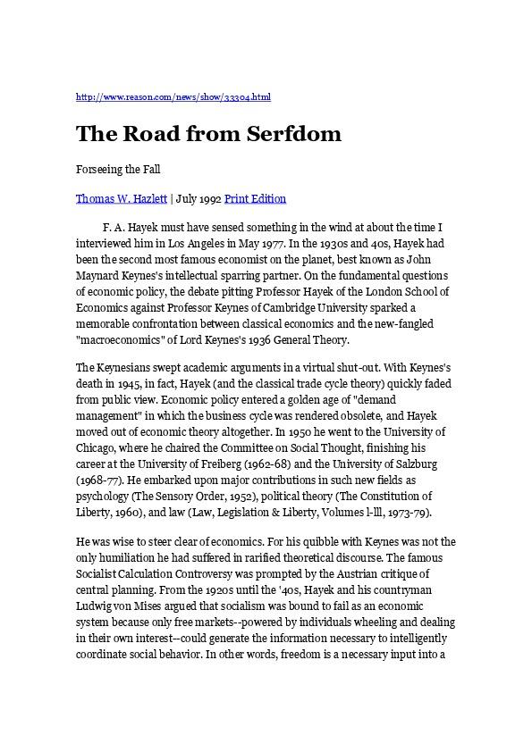 Hazlett, TW - The Road from Serfdom with Friedrich Hayek [Reason 1992.07]