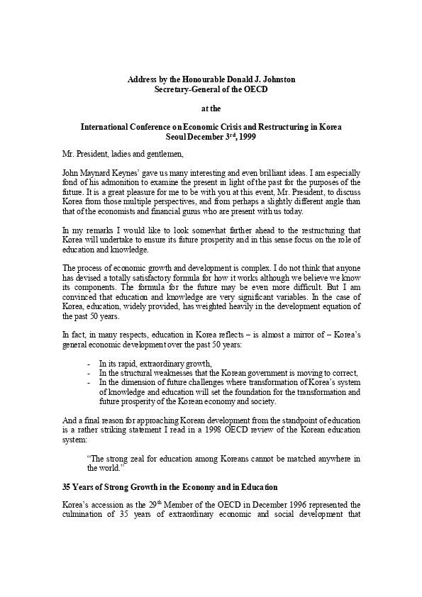 존스톤 OECD 사무총장 기조연설