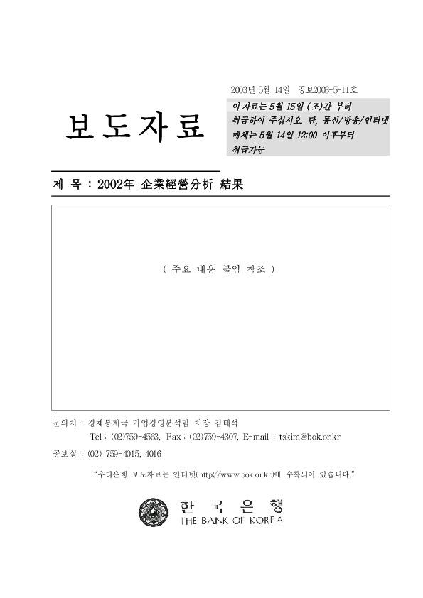 한국은행 - 2002년 기업경영분석 결과 [2000.5.14]