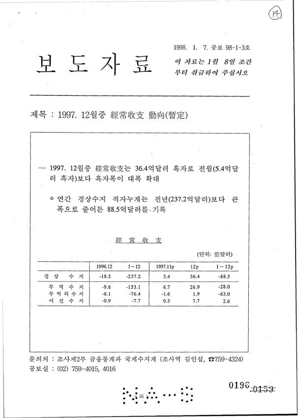 보도자료 : 1997. 12월 중 경상수지 동향(잠정)