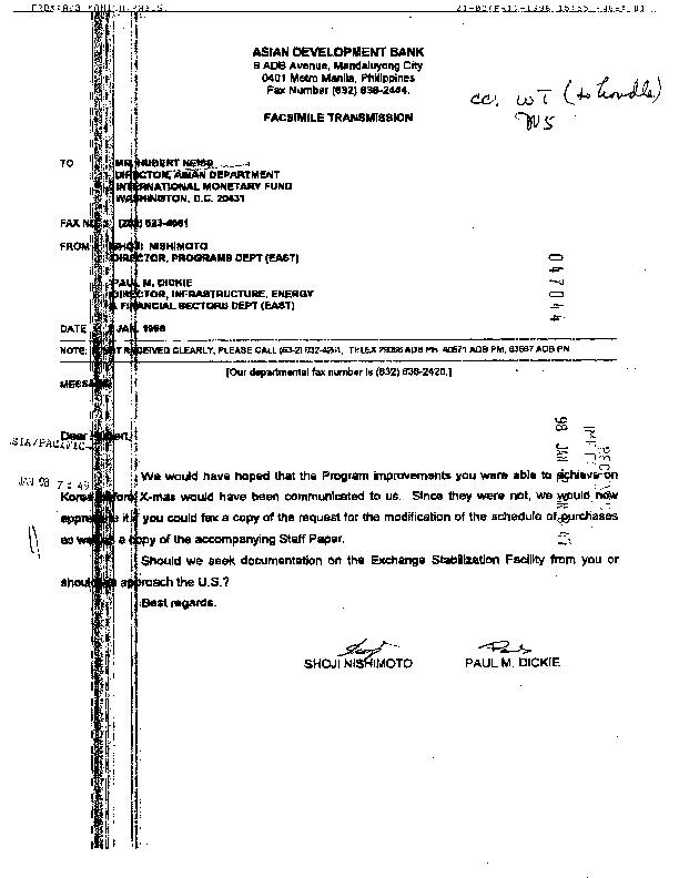Letter to Neiss : Request for information on Korea program