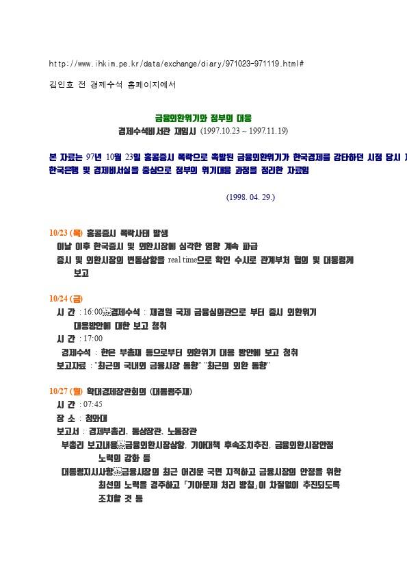 김인호 - 금융위기와 정부의 대응 경제수석비서관 재임시 (1997.10.23 ~ 1997.11.19)