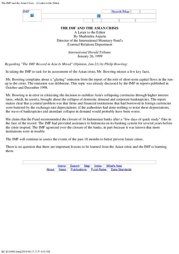 S Anjaria - IMF and Asian Crisis (Jan 26, 1999)
