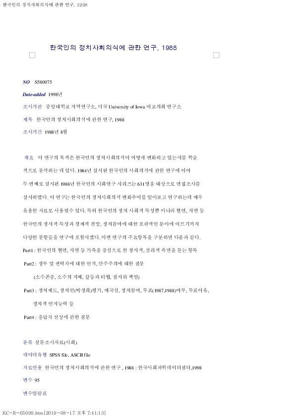 한국인의 정치사회의식에 관한 연구, 1988 조사 개요