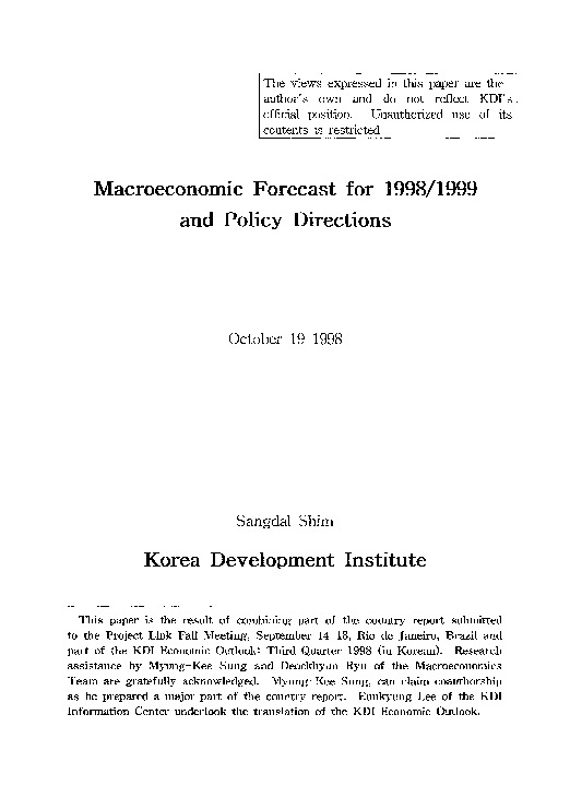 Macroeconomic Forecast for 1998 / 1999 and Policy Directions