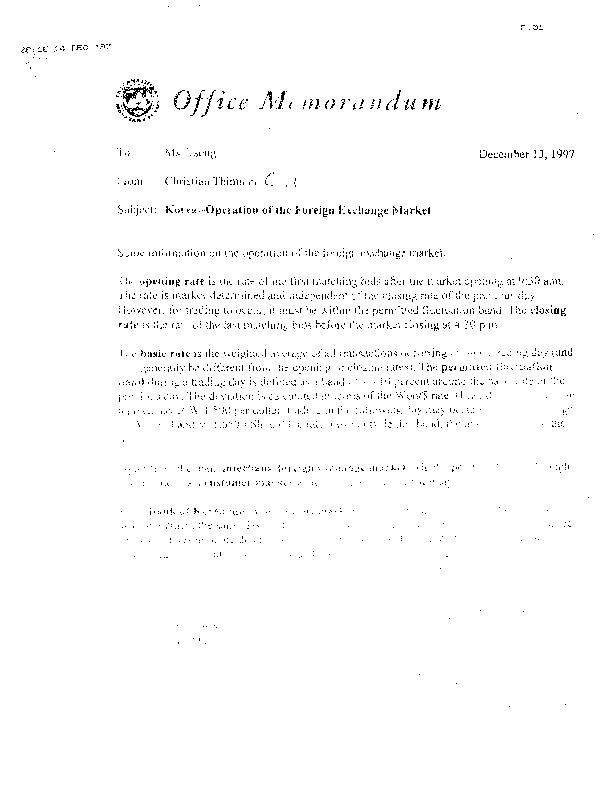 Korea- Operation of the Foreign Exchange MArket