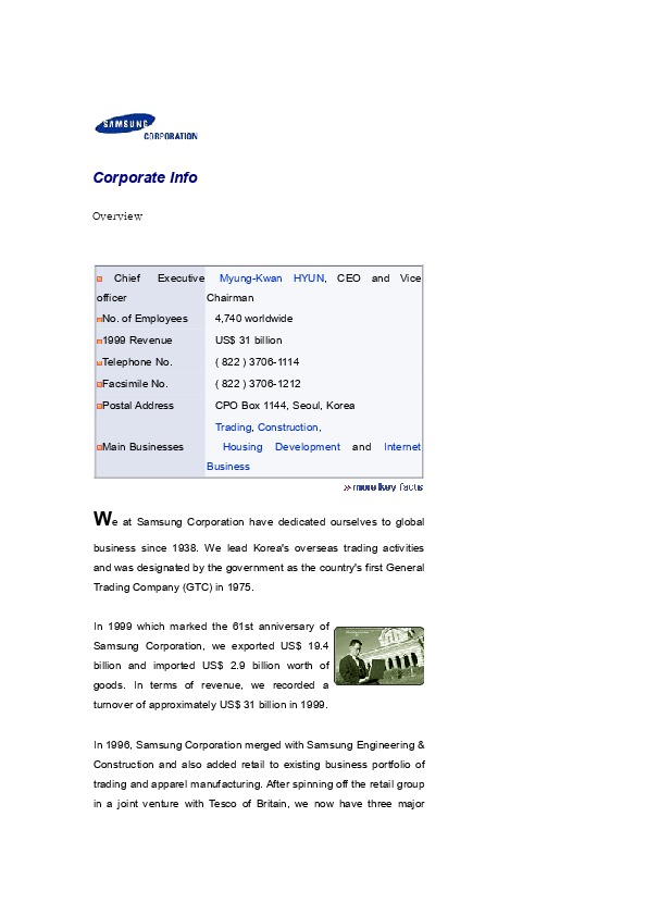 Samsung Corporation Corporate Info