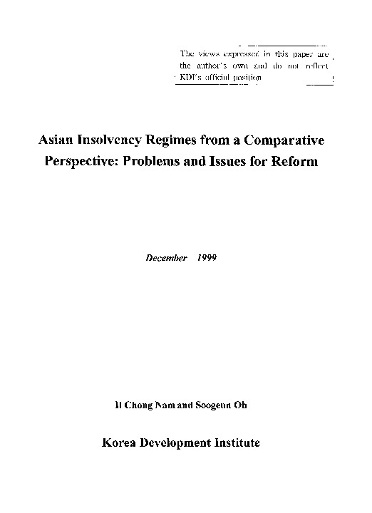 Asian Insolvency Regimes from a Comparative Perspective : Problems and Issues for Reform