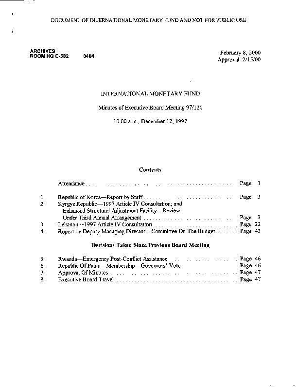 EBM 97.120 Republic of Korea-Report by Staff