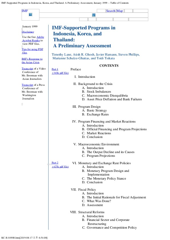 IMF supported Programs in Asia - A Preliminary Assessment (Contents)