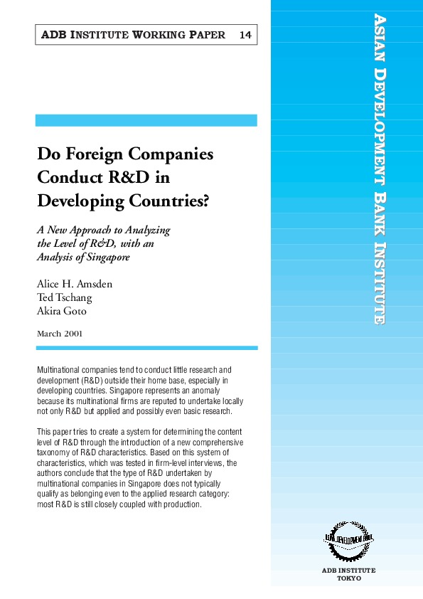 Amsden et al - Do Foreign Companies Conduct R_D in Developing Countries [ADB Inst Working Paper 14, 2001]